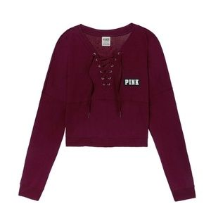 VS PINK Lace-Up Varsity Crop Crew Tee Deep Ruby L